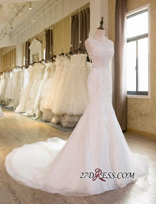 Sleeveless Newest Tulle Beadss Appliques Sexy Mermaid Wedding Dress_4