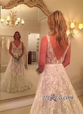 A-line Buttons Sleeveless V-Neck Lace Appliques Wedding Dress BA9433_2