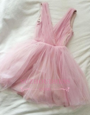 Tulle Cute Short Simple Pink V-neck Homecoming Dress UK_1