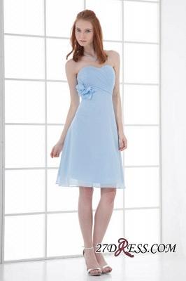Chiffon Short Zipper-Back Luxury Sky-Blue Sweetheart Bridesmaid Dress UK_5