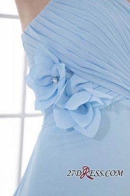 Chiffon Short Zipper-Back Luxury Sky-Blue Sweetheart Bridesmaid Dress UK_3
