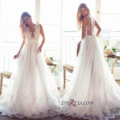 Gorgeous Princess Sleeveless Lace Appliques A-Line V-Neck Wedding Dress_1