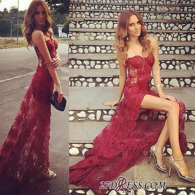 Long Split Stunning Sweetheart Burgundy Full-Lace Prom Dress UK_1