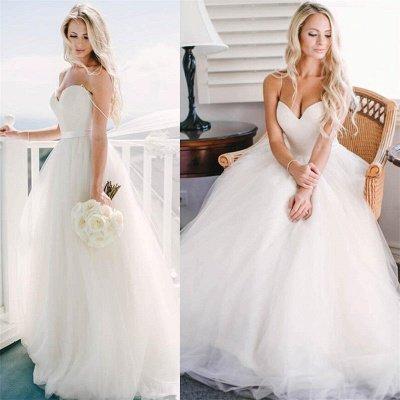 Elegant Sweetheart Spaghetti Strap Wedding Dress Tulle Floor Length BA2450_2