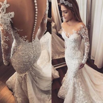 Elegant Long Sleeve Wedding Dress   Lace Appliques Wedding Dress On Sale_4