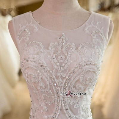 Sleeveless Newest Tulle Beadss Appliques Sexy Mermaid Wedding Dress_3