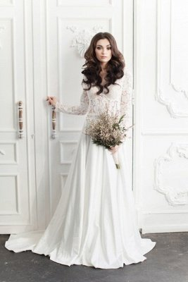 Fairy long Sleeve Lace Wedding Dress Zipper Button Back_3