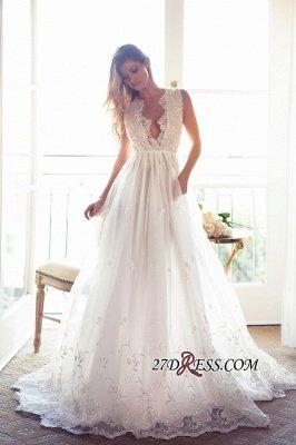Gorgeous Princess Sleeveless Lace Appliques A-Line V-Neck Wedding Dress_4