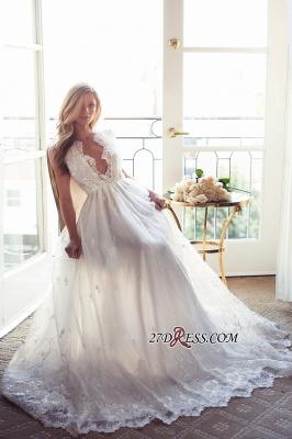 Gorgeous Princess Sleeveless Lace Appliques A-Line V-Neck Wedding Dress_2