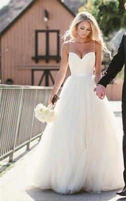 Elegant Sweetheart Spaghetti Strap Wedding Dress Tulle Floor Length BA2450_1