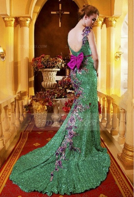 Sequined Sleeveless Mermaid Prom Dress UKes UK Vintage Gowns Straps Green Flower Embroidery Sweep Train Bowknot Evening_6