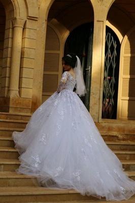 Elegant Illusion Tulle Lace Appliques Wedding Dress Long Sleeve Zipper_3