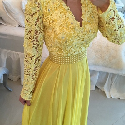 Gorgeous Long Sleeve Chiffon Prom Dress UK With Pearls And Lace Appliques BT0_3