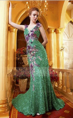 Sequined Sleeveless Mermaid Prom Dress UKes UK Vintage Gowns Straps Green Flower Embroidery Sweep Train Bowknot Evening_3