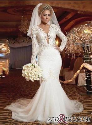 lace Sexy Mermaid Zipper Long-Sleeve Gorgeous Wedding Dress_2
