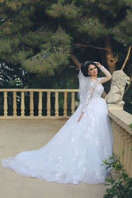 Elegant Illusion Tulle Lace Appliques Wedding Dress Long Sleeve Zipper_2