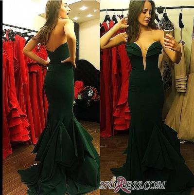 Long Mermaid Emerald-Green Sweetheart-Neck Ruffles-Skirt Elegant Prom Dress UKes UK_1