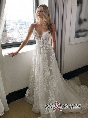 Gorgeous Spaghetti Straps Lace Wedding Dress Long On Sale_3