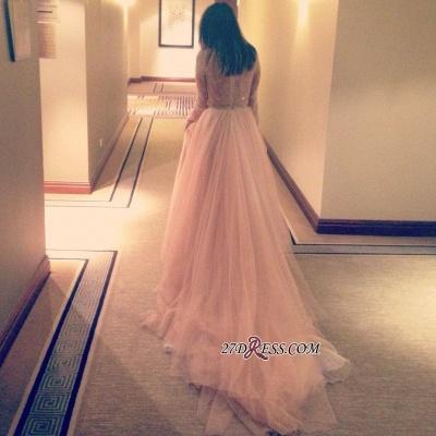V-Neck Beautiful Tulle Long-Sleeve Lace Long Evening Dress UK_2