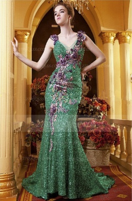 Sequined Sleeveless Mermaid Prom Dress UKes UK Vintage Gowns Straps Green Flower Embroidery Sweep Train Bowknot Evening_1