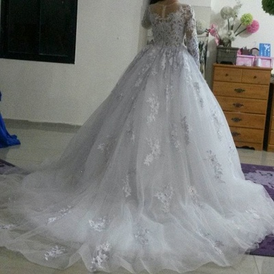 Elegant Illusion Tulle Lace Appliques Wedding Dress Long Sleeve Zipper_5