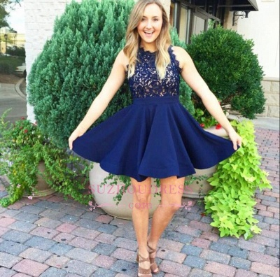Sleeveless Lace-Appliques Modern Mini A-line Homecoming Dress UK_1