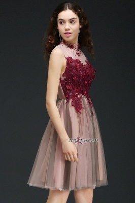 Burgundy-Flowers Hollow-Back High-Neck Tulle Sexy Homecoming Dress UKes UK_4