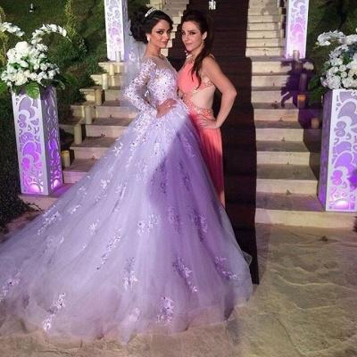 Elegant Illusion Tulle Lace Appliques Wedding Dress Long Sleeve Zipper_4