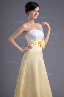 Elegant Strapless A-line Flowers Evening Dress UK Sleeveless Zipper_4