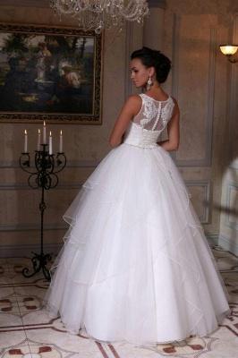 Modern White Scoop Neckline Sleeveless Wedding Dress Appliques Tulle Bridal Gowns_3