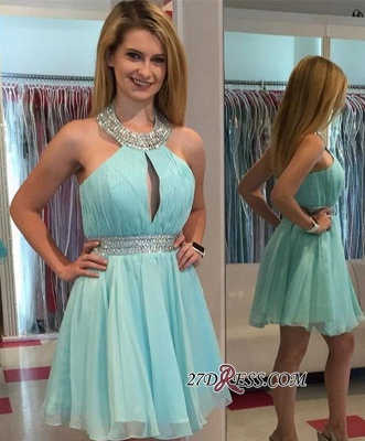 Ruffles Summer Halter Sleeveless Beading Chiffon Mini Homecoming Dress UKes UK_2