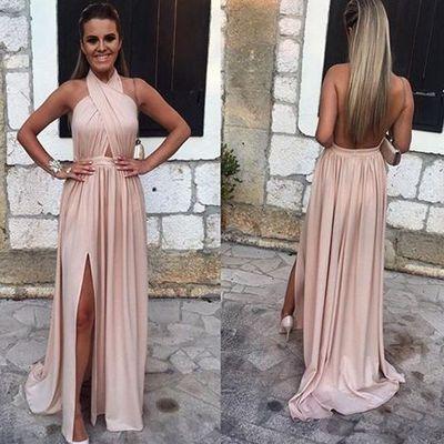 A-line Sleeveless Newest Backless Split-front Elegant Evening Dress UK BA4745_1