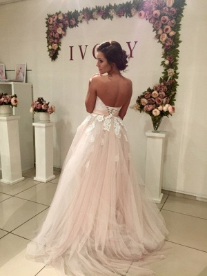 Elegant Sweetheart Tulle Wedding Dress Lace Appliques Lace-up_3