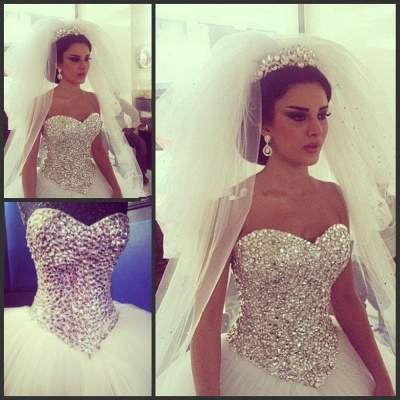 Elegant Tulle Ball Gown Wedding Dress With Crystals_3