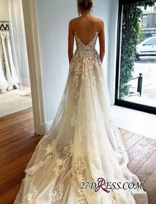 Gorgeous Spaghetti Straps Lace Wedding Dress Long On Sale_2
