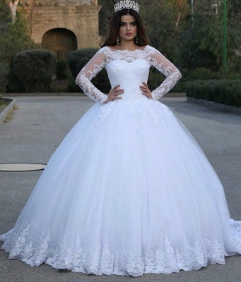 Modern Long Sleeve Lace Wedding Dresses UK Tulle Ball Gown_3