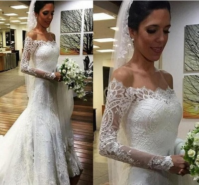 Elegant Lace Off-the-shoulder Wedding Dress Long Sleeve Sexy Mermaid_3