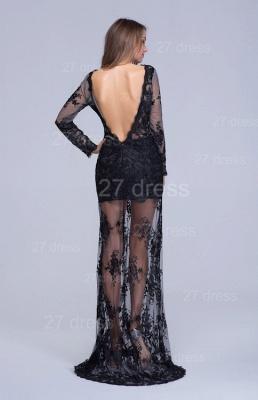 Elegant Long Sleeve Black A-line Evening Dress UK Lace Appliques_3