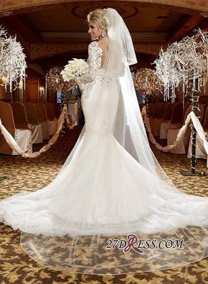 lace Sexy Mermaid Zipper Long-Sleeve Gorgeous Wedding Dress_3