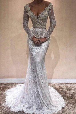 Elegant Sexy Mermaid Long Sleeves Wedding Dresses UK Lace  V-Neck Crystal Evening Dress_1
