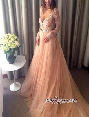 V-Neck Beautiful Tulle Long-Sleeve Lace Long Evening Dress UK_3