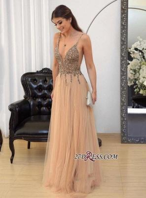 Tulle v-neck long prom Dress UK,evening Dress UK with beads_1