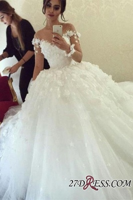 Long-Sleeves Unique Appliques Ball-Gown Wedding Dress_2