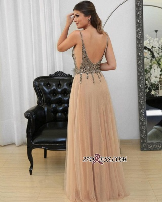Tulle v-neck long prom Dress UK,evening Dress UK with beads_3