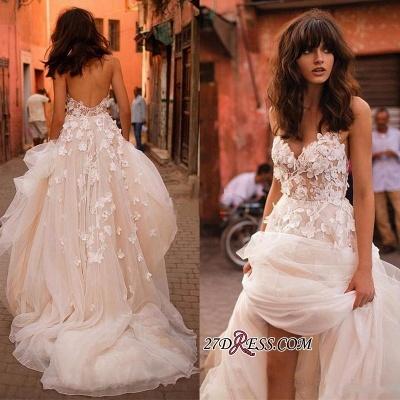 V-Neck Tulle Sleeveless Flowers Elegant Wedding Dress_3