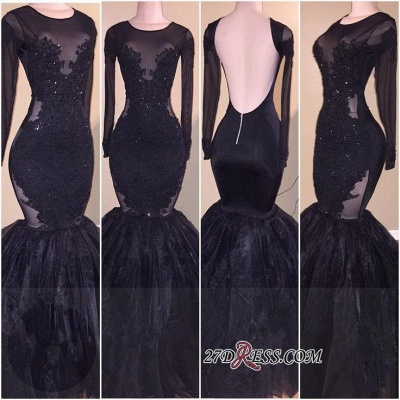 Sexy Long-Sleeves Backless Tulle Mermaid Appliques Prom Dress UK_2