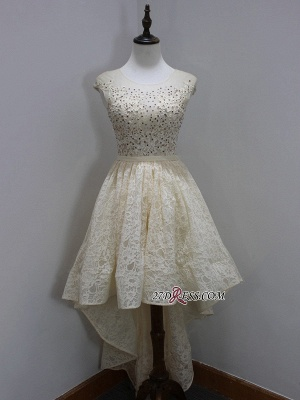 Dress UKes UK Scoop Sleeves Cap Sequins Newest A-Line Lace High-Low Homecoming Prom Dress UKes UK_3