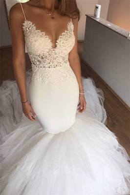 Sexy Mermaid Lace Wedding Dresses UK Cheap | V-neck Straps Open Back Bridal Dresses with Tulle Cheap Train_1