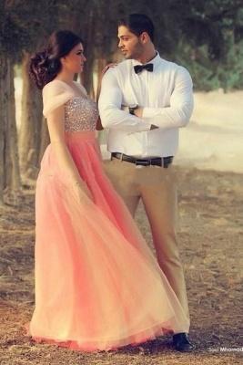 Romantic Cap Sleeve Tulle Pink Evening Dress UK Crystals Floor-length_4