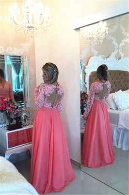 Gorgeous Long Sleeve Chiffon Prom Dress UK With Pearls And Lace Appliques BT0_2